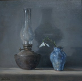 Snowdrop, a still life painting in oils by Annabelle Valentine