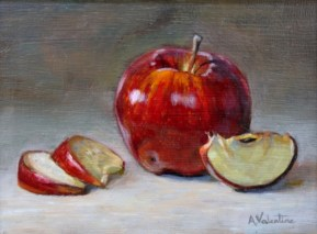 Apple, a still life painting in oils by Annabelle Valentine