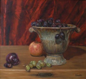 Bowl Of Grapes, a still life painting in oils by Annabelle Valentine