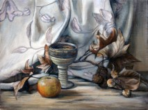 Last Leaves, a still life painting in oils by Annabelle Valentine
