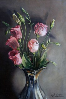 Pink Flowers, a still life painting in oils by Annabelle Valentine