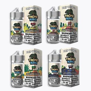 Tropic King eJuice is a wonderful collection of vape juices made with tropical fruit flavors: Maui Mango, Mad Melon, Lychee Luau and Berry Breeze