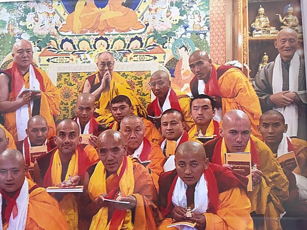 Jampa at his investiture (His Holiness at rear; JK third from the right)