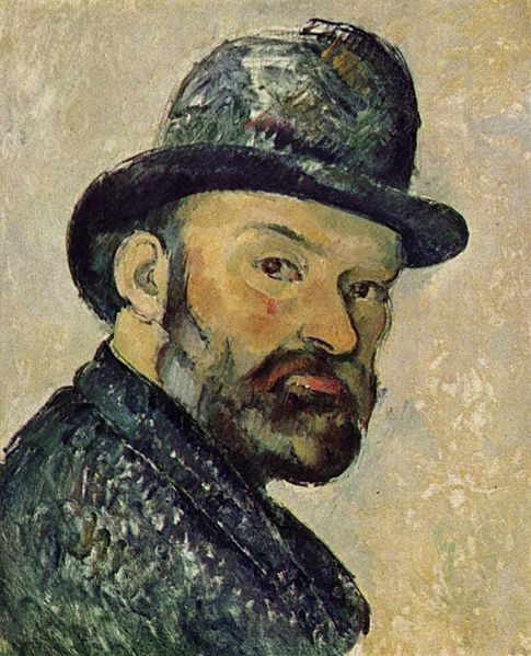 """Cézanne self-portrait, about the time he riffled through """"L'Oeuvre"""""""