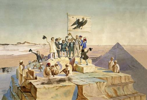Expeditionary party atop Cheops' monument, to salute the birthday of patron King Friedrich Wilhelm IV, by Johann Jacob Frey, 1842