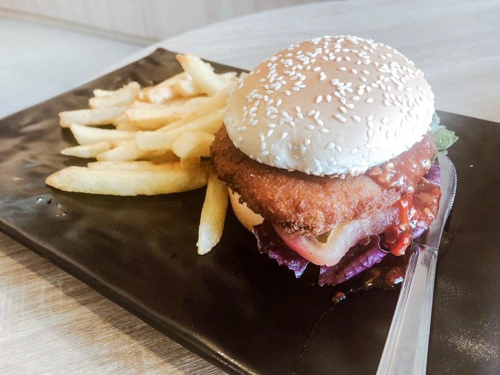 Thai Spicy Konnyaku burger with fries