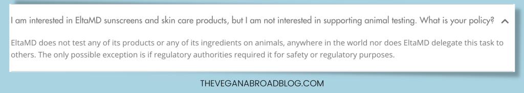 EltaMD's animal testing policy