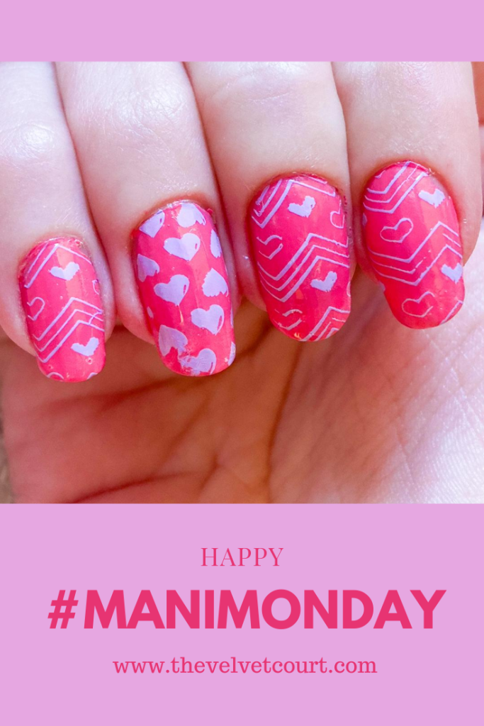 """Discover how you can recreate these purple and pink heart nails using PICT You """"PY-J015"""" and Born Pretty """"BP - L013"""" stamping plates and Hit The Bottle """"Iced Mauve-jito"""" stamping polish."""
