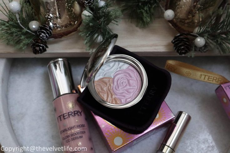 By Terry Starlight Rose Holiday Collection 2019 review and swatches of Starlight Rose CC Powder, Starlight Rose Glow Booster CC Serum, Baume de Rose