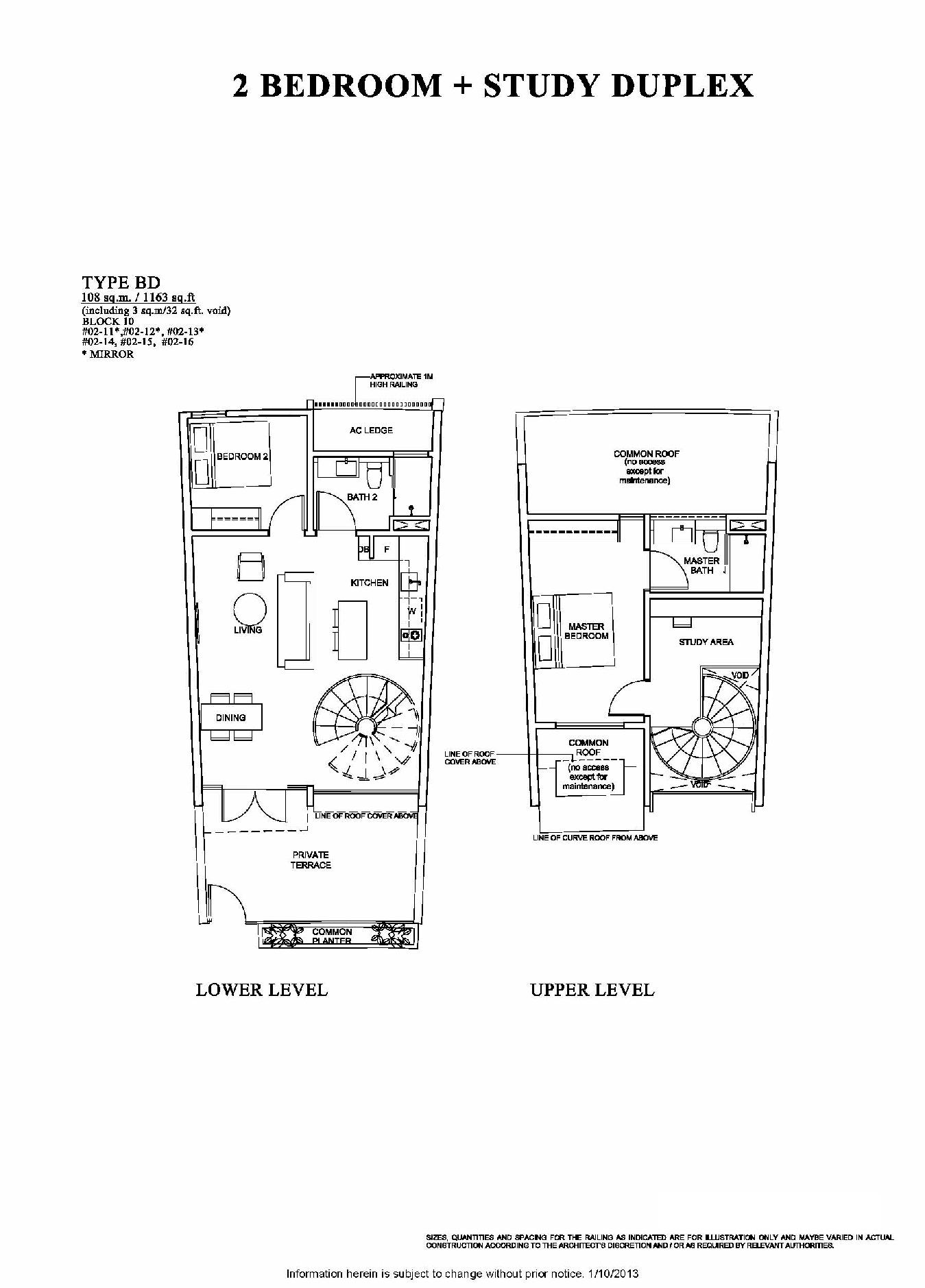 The Venue Residences 2 Bedroom + Study Duplex Floor Plan Type BD