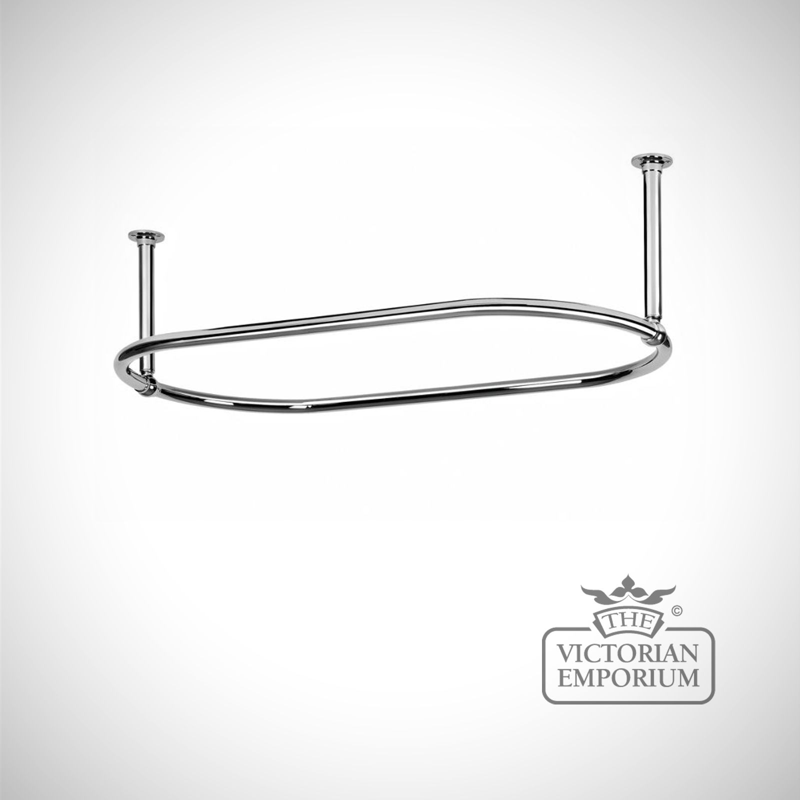 Oval Shower Curtain Rail Chrome With End Stays