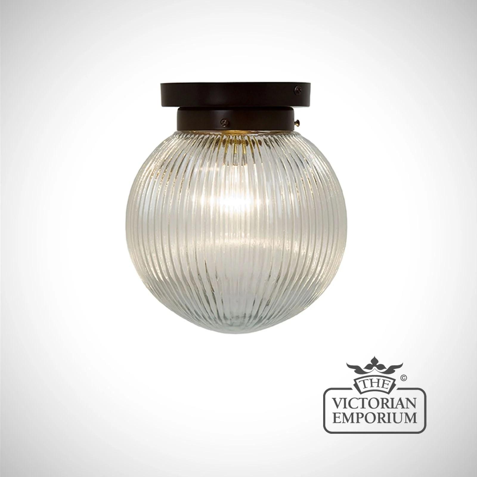 reeded glass globe flush mount light