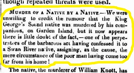 KGS native murder confessed 1837