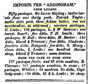 Patrick Taylor Imports per Addingham July 1836