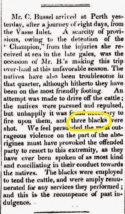 charles bussell reports killing three blacks 1837