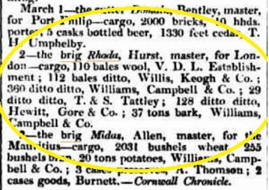 Hassell - Brig Rhoda - Ex VDL 2.3.1837
