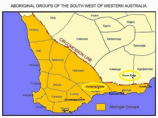 Tindale Tribal Groups Vrs Sth Coast Settlers Map - F.R. plus Coca