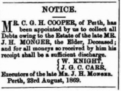 JH Monger Death Notice