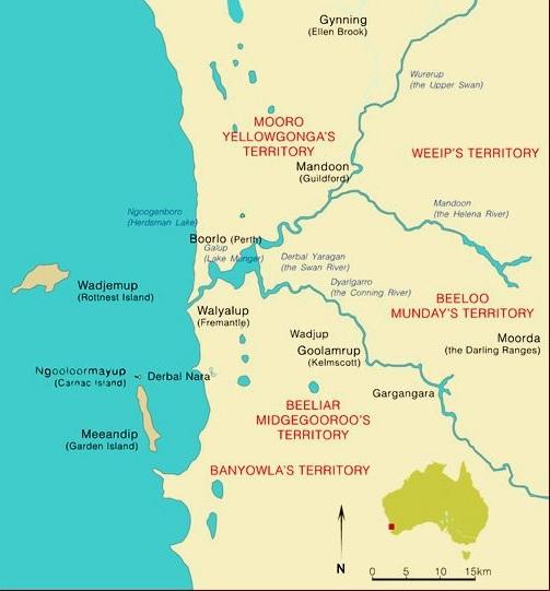 Whadjuk Boodja Map - After Neville Green