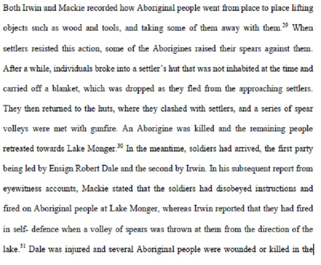Perth Battle - 3 May 1830 - Hunter thesis excerpt 2