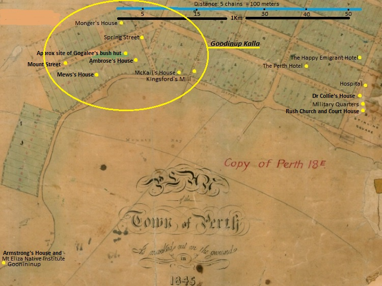 Gogalee Death - Old Perth Map