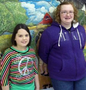 Emilie Eustace (left), grade 5, was runner up, and the winner of the spelling bee was Trinity Leady, grade 7.