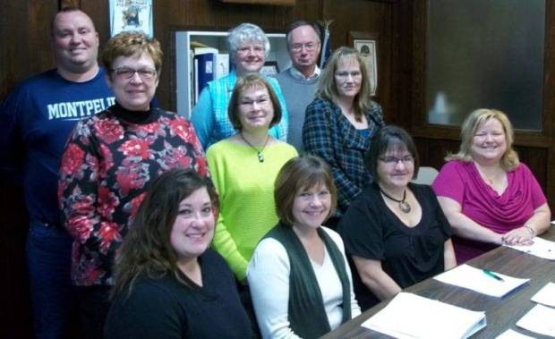 BOARD ... The board of the Montpelier Area Chamber of Commerce welcomed new members and voted on officers at their first meeting of 2013. Members and representatives are (from left to right): Seated Lori Eiteniear-1st VP, Shelley Davis-3rd VP, Susie Osburn-President, and Jeanette Hull. Middle row: Terry Buntain-Executive Director, Chris Lee, and Kandace Potts-Salaz-2nd VP. Back row: Jamie Grime-Montpelier Schools Superintendent, Gloria Osburn, and Rev. Dave Tilly-Ministerial Representative.