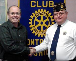 Chuck Moore, Montpelier Rotary Club President, with Kevin Motter, Montpelier American Legion Post Commander.  The Montpelier Rotary Club committed $400 toward Montpelier's delegation to Buckeye Boys State.