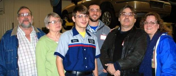 Shown in the Automotive Technologies lab with Career Center student Chris Whitlock (CENTER) from Stryker are (LEFT TO RIGHT) Terry Gee (Montpelier); Jean Hicks (Montpelier); Chris; Matt Dodd (Stryker); Richard Whitlock (Stryker); and Lisa Whitlock (Stryker).