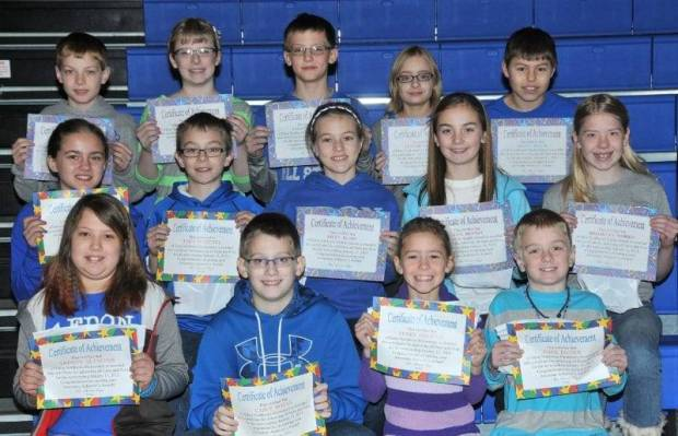 "FOURTH AND FIFTH GRADE AWESOME ACHIEVERS … Edon Northwest Elementary Fourth and Fifth Grade students honored as ""Awesome Achievers"" for receiving all 4s or all 4s and 5s during the 2012-2013 Second Nine Week Grading Period were, front row, from left ~ fourth graders Trinity Altaffer, Casey Bonar, Avrey Degryse and Gage Eicher.  Middle Row, fourth graders from left ~ Victoria Green, Trey Whitney and fifth graders Riley Bloir, Alea Brandt, Brooklyn Morris.  Top Row, fifth graders from left ~ Aidan Muehlfeld, Melody Nofziger, Connor Skiles, Taylor Trausch and Shane Zulch."