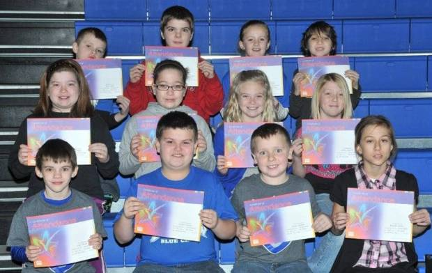 THIRD GRADE PERFECT ATTENDANCE … Edon Northwest Elementary Third Grade Students honored for Perfect Attendance during the 2012-2013 Second Nine Week Grading Period:  First Row (L-R) ~ Cory Brooks, Jayden Craven, Terran Dunbar and Breanna Heinze.  Middle Row (L-R) ~ Allison Kaylor, Ashley Kaylor, Carlie Kiess and Olivia Mitchell.  Top Row (L-R) ~ Jacob Moon, Brian Thomas, Kerrin Towers and Gage Winebernner.