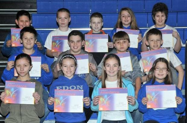 FIFTH GRADE PERFECT ATTENDANCE … Edon Northwest Elementary School Fifth Grade students honored for Perfect Attendance during the 2012-2013 Second Nine Week Grading Period were:  Front Row (L-R) ~ Hannah Ater, Riley Bloir, Alea Brandt and Caitlyn Dietsch. Middle Row (L-R) ~ Jacob Dulle, Austin Kiess, Dylan Mason and Chase Reed.  Top Row (L-R) ~ Blaze Resendez, Kelby Sapp, Cameron Siebenaler, Mallory Trausch and Natasha Warner.
