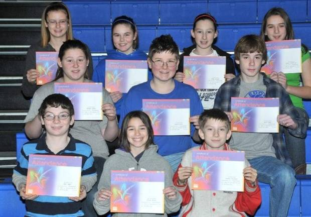SIXTH GRADE PERFECT ATTENDANCE … Edon Northwest Elementary Sixth Grade Students honored for Perfect Attendance during the 2012-2013 Second Nine Week Grading Period were:  Front Row (L-R) ~ Kyle Apger, Wendy Braun and Stanley Heckman.  Middle Row (L-R) ~ Tammie Julian, Darius Kurtz and Jacob Long.  Top Row (L-R) ~ Tamara Mills, Jordan Runyan, Hallie Schuller and JoLynn Winebernner.
