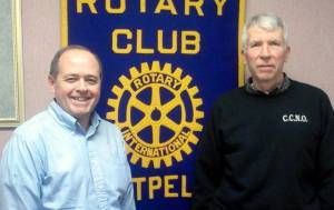 Montpelier Rotary Club President ... Chuck Moore with John Widmer from Reach Up, Inc. and See and Do Club.