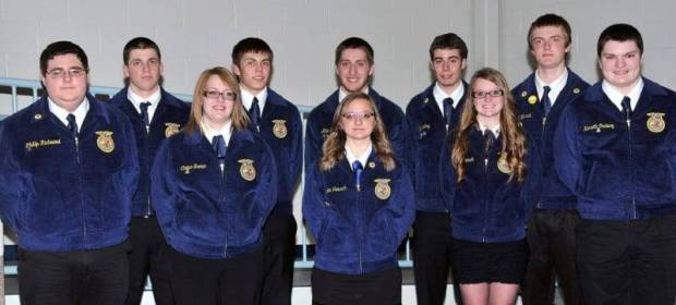 NEW EDON FFA OFFICERS … Elected as 2013-2014 Edon FFA Chapter Officers were Front Row, from left, ~ Phillip Richmond, Student Advisor; Corisa Brown, Parliamentarian; Karlee Trausch, Reporter; Cassi Trausch, Secretary and Kenny Ordway, Chaplain.   Back Row, from left ~ Tyler Seaman, Treasurer; Wyatt Zulch, President; Alex Baker, Vice President; Kyle Long, Historian and Garrett Trausch, Sentinel.