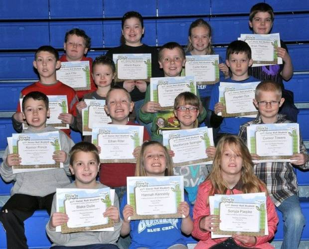 SECOND AND THIRD GRADE BUG AWARDS … Mrs. Parrish's and Mrs. Doble's Second Graders and Mrs. Gensler's and Miss Johnson's Third Graders honored for bringing up their grades during the 2012-2013 Third Nine Week Grading Period were: Front row, from left, second graders Blake Dulle, Hannah Kennedy and Sonyja Paepke.  Second row, from left, second graders Konnor Prince, Ethan Riter, MacKenzie Spangler and Connor Towers.  Third row, from left, second graders Kalon Weaver, Mallory Wofford and third graders Terran Dunbar and Hayden Dye.  Top row, from left, third graders Jack Fifer, Allison Kaylor, Carlie Kiess and Brian Thomas.  Not pictured ~ Tiara Mills (third grade).