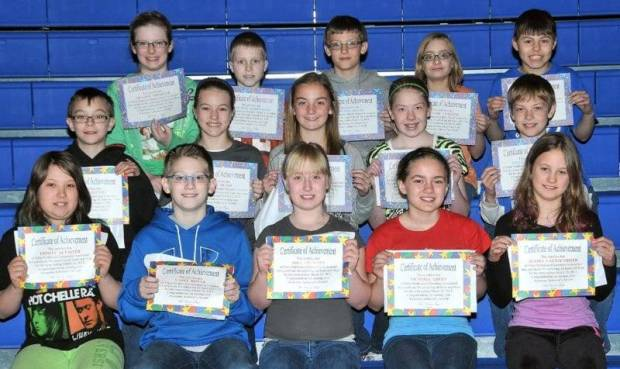 """FOURTH AND FIFTH GRADE AWESOME ACHIEVERS … Edon Northwest Elementary Fourth and Fifth Grade students honored as """"Awesome Achievers"""" for receiving all 4s or all 4s and 5s during the 2012-2013 Third Nine Week Grading Period were:  Front row, from left, fourth graders Trinity Altaffer, Casey Bonar, Abby Frantom, Victoria Green and Alyssa Lautzenhiser.  Middle row, from left, fourth grader Trey Whitney and fifth graders Riley Bloir, Alea Brandt, Brooklyn Morris and Aidan Muehlfeld.  Top row, from left, fifth graders Melody Nofziger, Cameron Siebenaler, Connor Skiles, Taylor Trausch and Shane Zulch."""