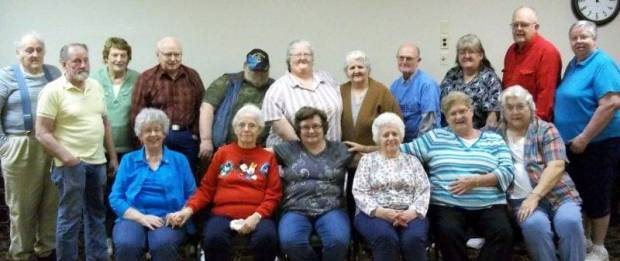 There was a total of 17 seniors who participated in the Wii bowling tournament: Back, from left to right – Donald Smith, John Hancock, Janet Bennet, Red Allman, Chuck Flory, Juanita Flory, Patricia Smith, Jim Martin, Judy Miller, Bill Stoops, and Anita Taylor. Front- Marsha Snyder, Eunice Williams, Linda Wheeler, Carol Brumbaugh, Karen Stoops, and Judy White.