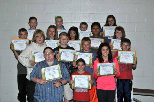 SIXTH GRADE BUG AWARDS … Sixth Graders honored for bringing up their grades during the 2012-2013 Fourth Nine Week Grading Period in Mrs. Kepler's and Mrs. Taylor's classes were:  Front row, from left, Schylar Bergman, Wendy Braun and Alyssa Brunet.  Second row, from left, Zach Carroll, Evan Gineman, Tylor Hartman and Stanley Heckman.  Third row, from left, Chad Howard, Faith Livensparger, Zoe Neubig, Andrew Northrup and Shaleah Orner.  Back row, from left, Hallie Schuller, Candace Shaw, Shannon Speicher and JoLynn Winebernner.