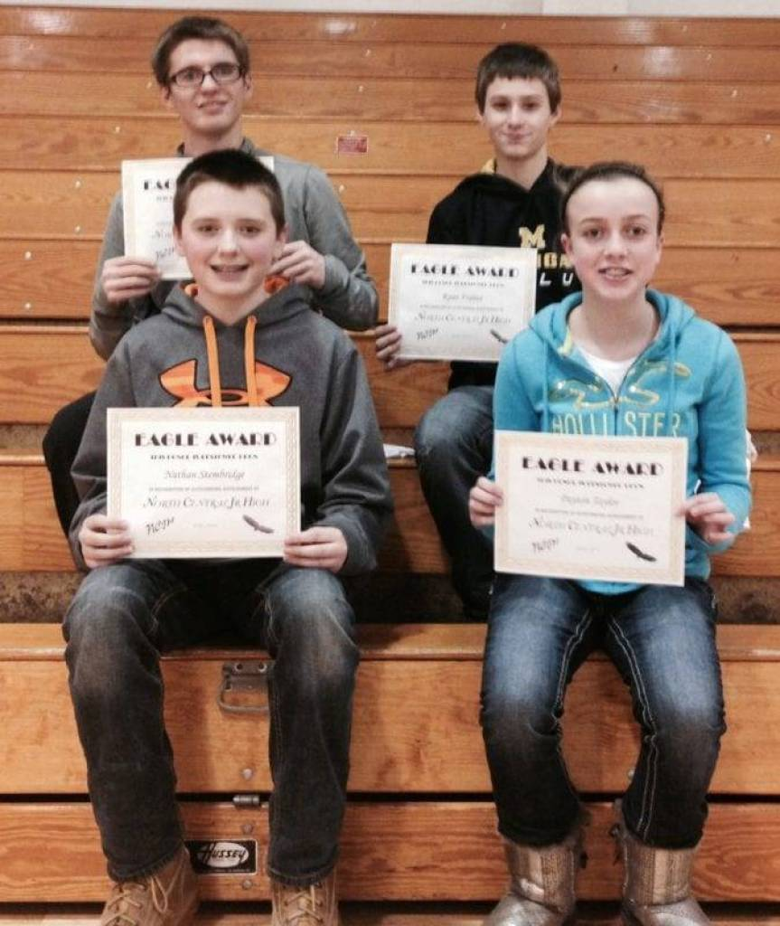 Junior high Eagle Award winners ... 1st row - Nathan Stembridge and Payton Taylor. 2nd row - Zachary Turner and Ryan France.