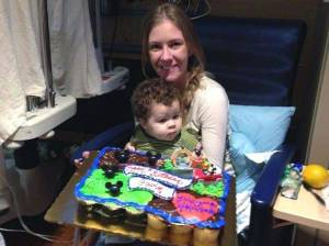 Gavin's first birthday in hospital with mom Christin WEB