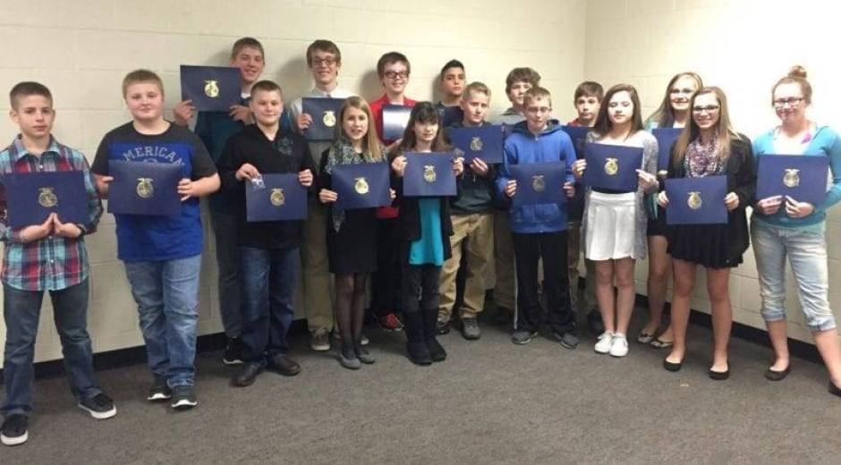 Discovery Degree Winners are: (Front Row, Left to Right): Logan Richer, Jackson Bauer, Logan Moore, Loren Starkweather, Mariah Wittenmyer, Nolan Thourot, Jac Schroeder, Jayden Walther, Lexus Stipp and Sammy Klawitter. (Back Row, Left to Right) Isaac Wilson, Cooper Lane, Jaxon Radabaugh, Kayden Widman, Evan Banister and Keegan Waxler.