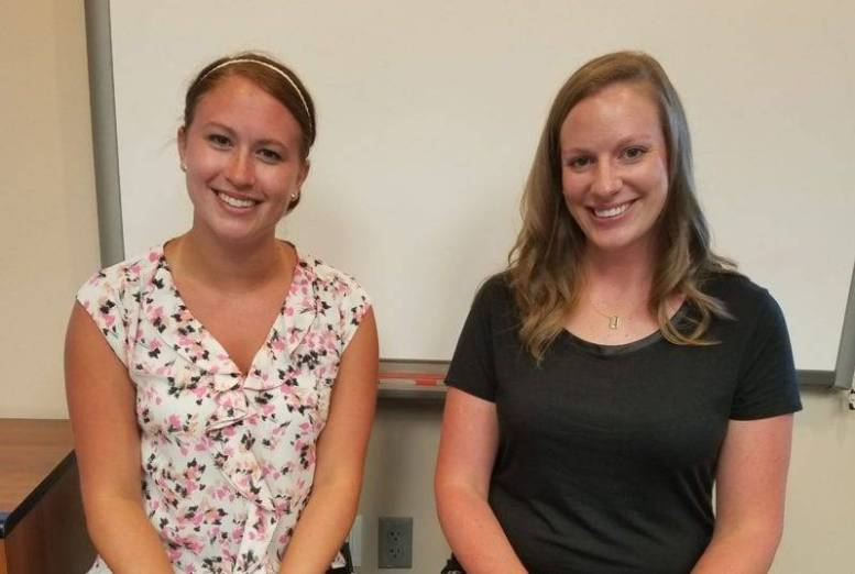 Samantha Kaczmarek, new third grade teacher and Chelsae Siebenaler, new school psychologist.