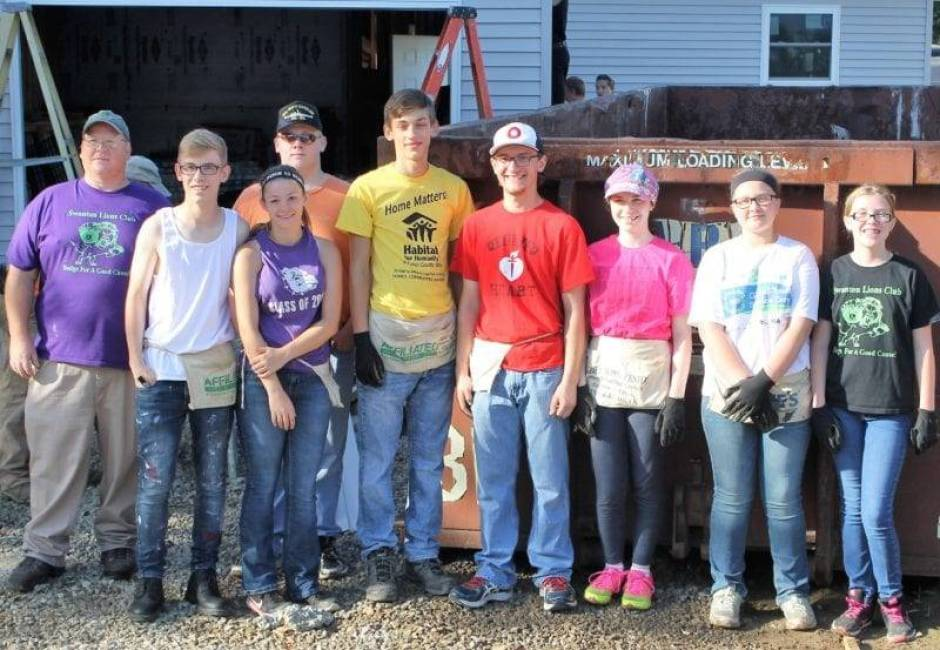 Swanton Leos Construction Crew members are (L to R): Scot Lawson (Leos Advisor), Scott Fennell, Coryn Preston, David Patch (back), Everett Payton, Austin Hill, Emily Hill, Amy Lawson, Hannah Patch.