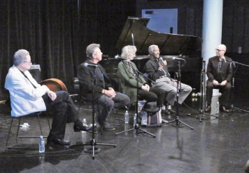 At the New School, talking Jazz in the Village with Keller Coker (far right), Dean of The New School for Jazz and Contemporary Music, with (from left Vic Juris, Andy McKee, Joanne Brackeen and Billy Harper