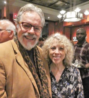 Judy Paul, CEO of the Washington Square Hotel, at the opening party with Doug Yeager, manager of David Amram and many other musicians