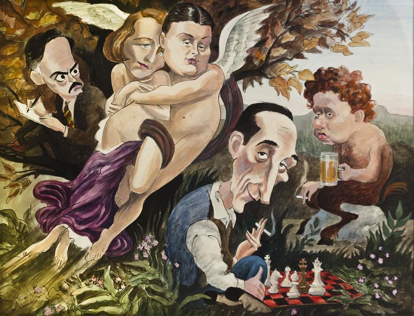 Waverly Murals - Edward Sorel Mural Eugenne O Neill