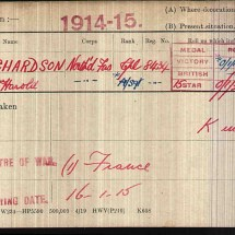 Richardson Harold medalcard on the western front