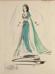 Original sketch of the peacock dress, by Head