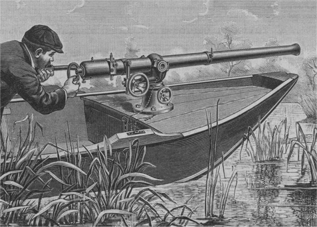 The gun was fixed to the punt, thus the hunter would maneuver the entire boat in order to aim the gun.